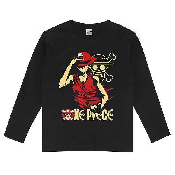 Camiseta Manga Longa One Piece Monkey D. Luffy