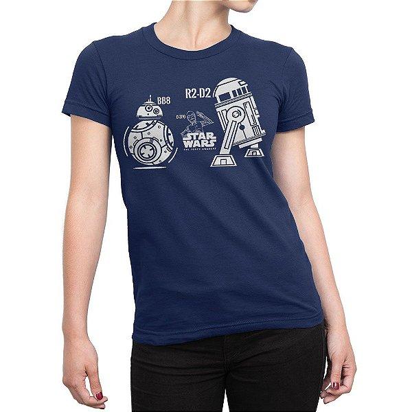 Camiseta C-3PO R2-D2 BB-8 Feminina