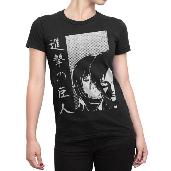 Camiseta Attack on Titan Eren e mikasa Feminina
