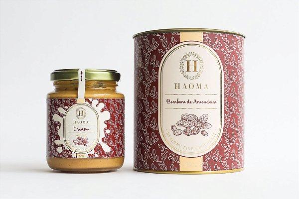Haoma Cream Amendoim e Bombom de Chocolate Belga Amendoim