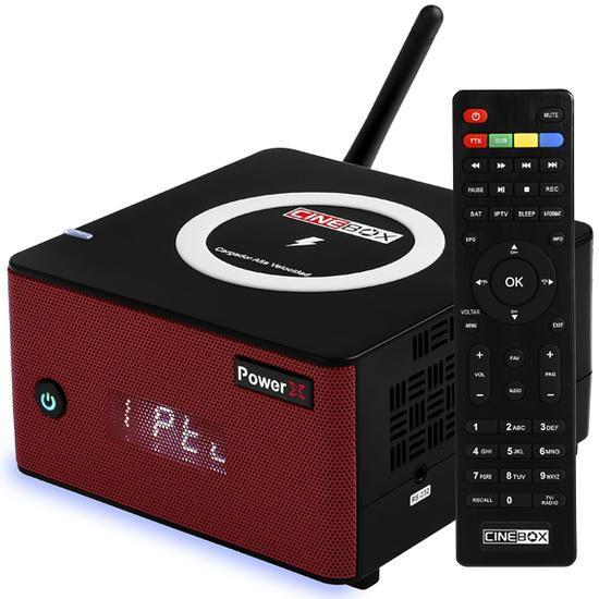 Receptor FTA Cinebox Power X com Wi-Fi / USB / HDMI Bivolt - Vermelho / Preto