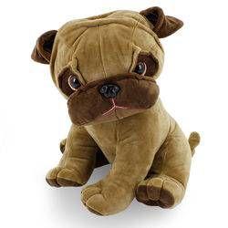 Cachorro de Pelúcia Sentado Pug Pongo Marrom