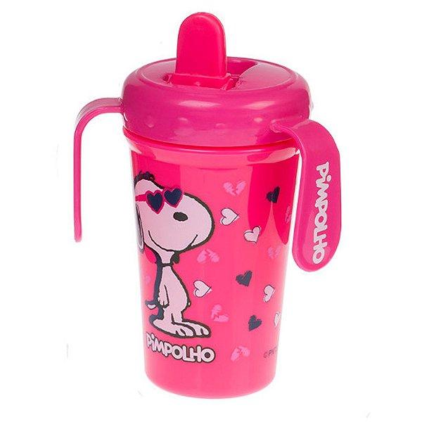 Copo Antivazamento Peanuts Feminino Rosa com Bico Retrátil e Alça - Pimpolho - 7815
