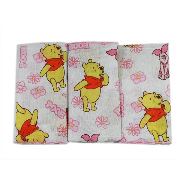 Babete Pooh Rosa 32 cm x 32 cm - Minasrey - 3898