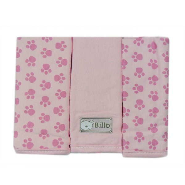 Babetes Rosa Estampada 25 cm x 30 cm com 3 un malha - Minasrey - 4024