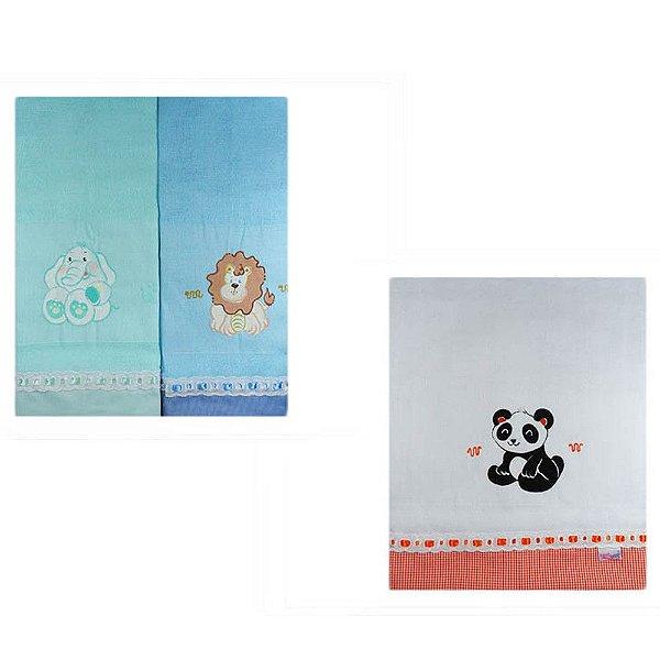 Fraldas com Barra Pintadas (3pçs) - Elefante, Leão e Panda 1400