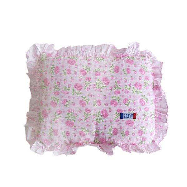 Travesseiro com Babado Rosa Florzinha  Loupiot  28cm x 35cm - Minasrey - 3460
