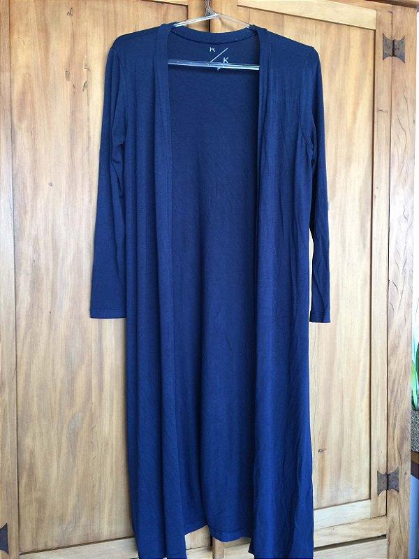 Maxi cardigan malha azul (P)