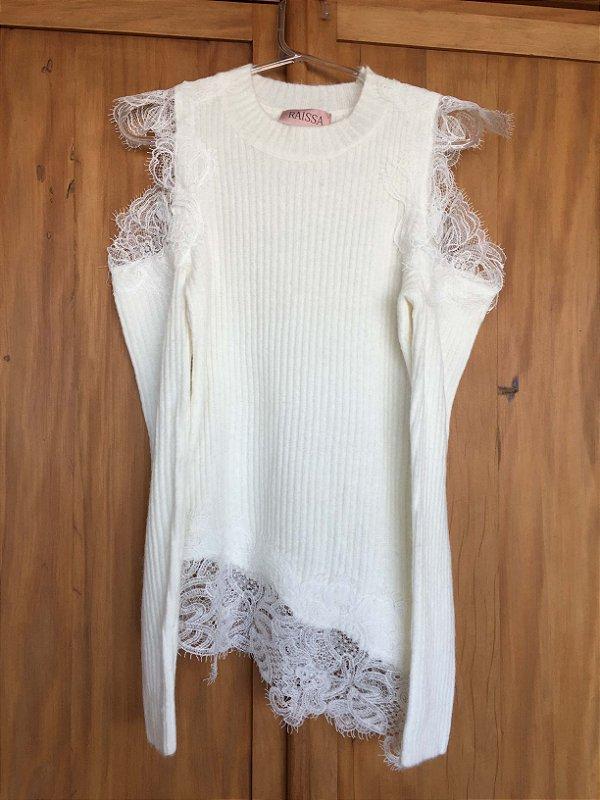 Tricot off white ombros vazado (P) - Raissa