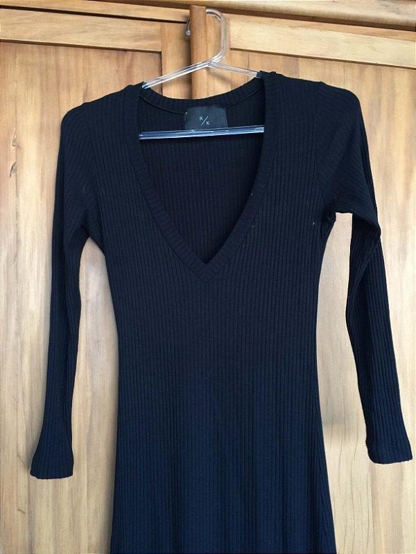 Vestido longo malha canelada (P) - RK Basic