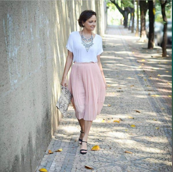 Saia midi plissada rosa (38) - Cortelle