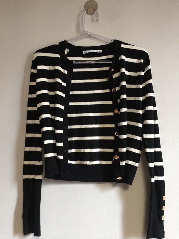 Casaco tricot listras (P) - Zara NOVO