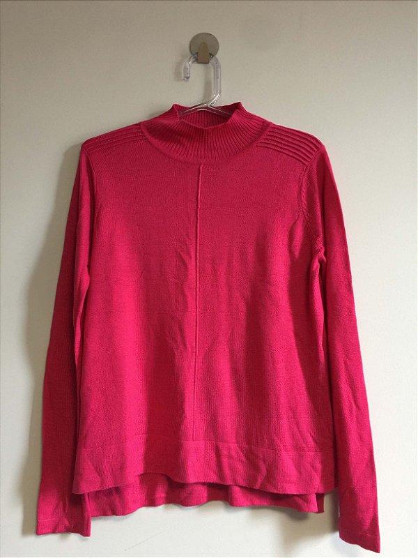 Blusa tricot gola alta rosa (PP) - Shoulder NOVA