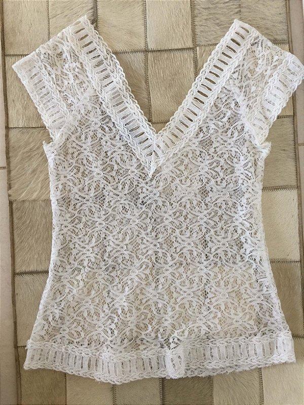 Blusa renda branca (36) - M&Guia