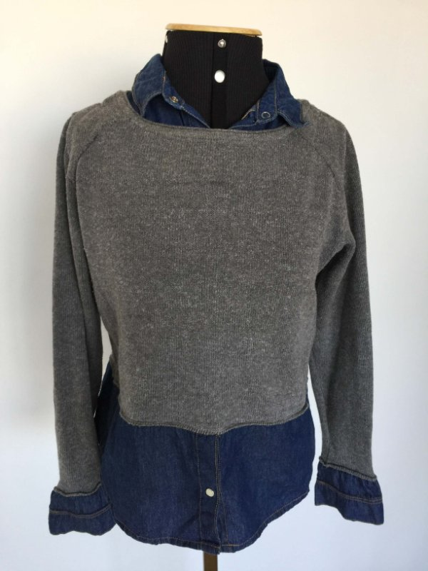 Camisa jeans e tricô (P) - Maria Filó