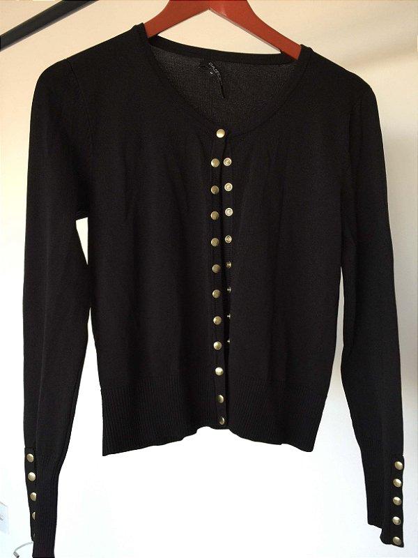 Cardigan preto botões dourados fosco (G)