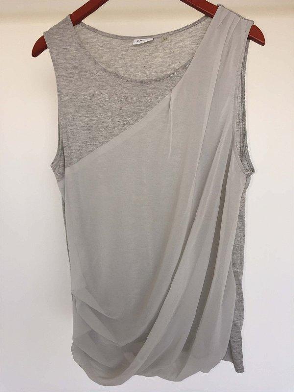 Camiseta transpassada cinza (G) - DKNY