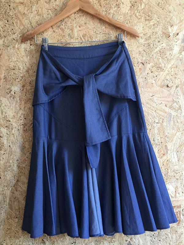 Saia midi tipo jeans (P) - Ateliê Linah