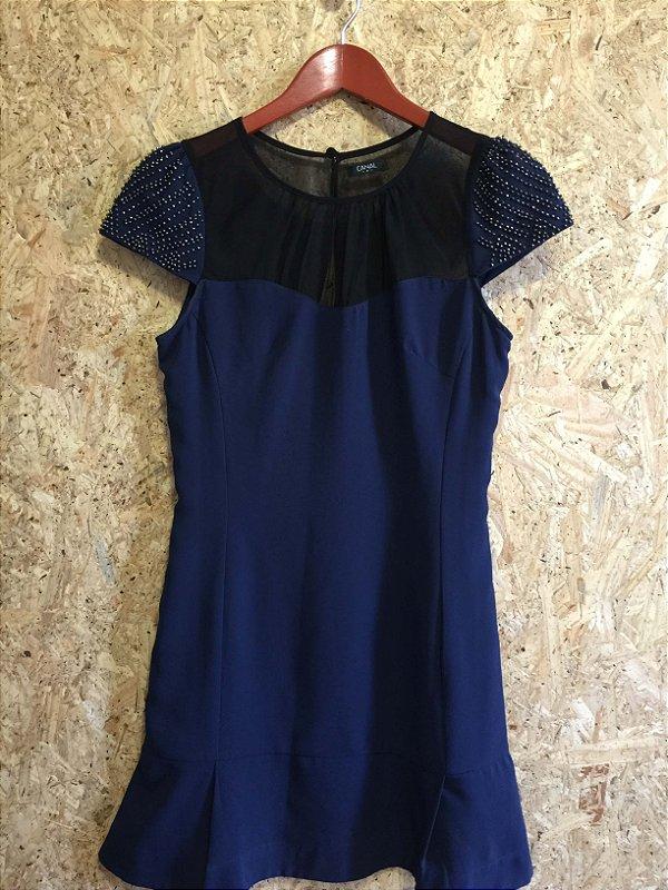 Vestido azul manga bordada (P) - Canal