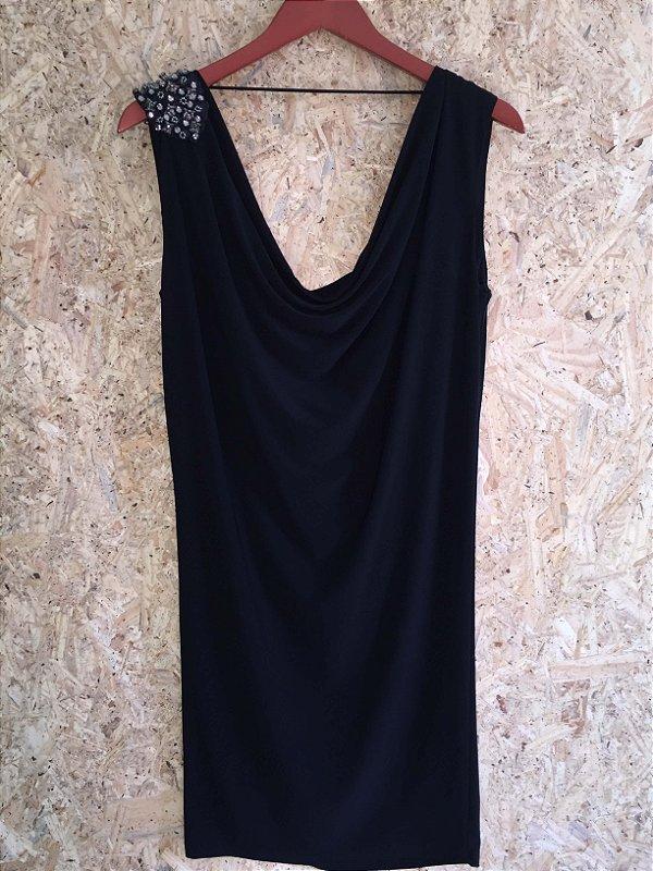 Vestido midi preto ombro bordado (P) - Canal
