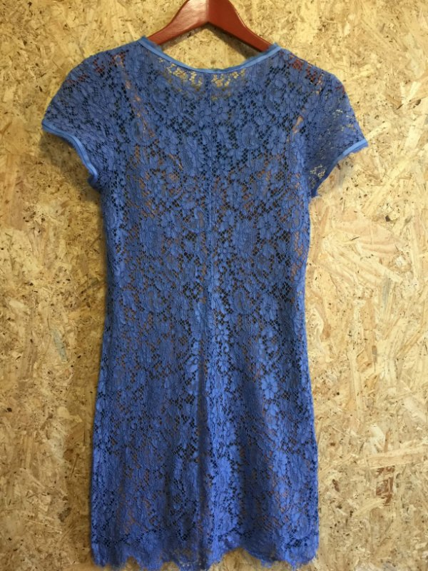 Vestido renda midi azul com combinação (38) - Animale