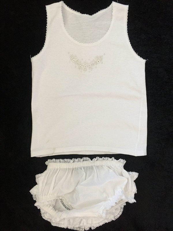 Conjunto blusa com calcinha fofolete branco (M) - Ateliê Naelia Donatti