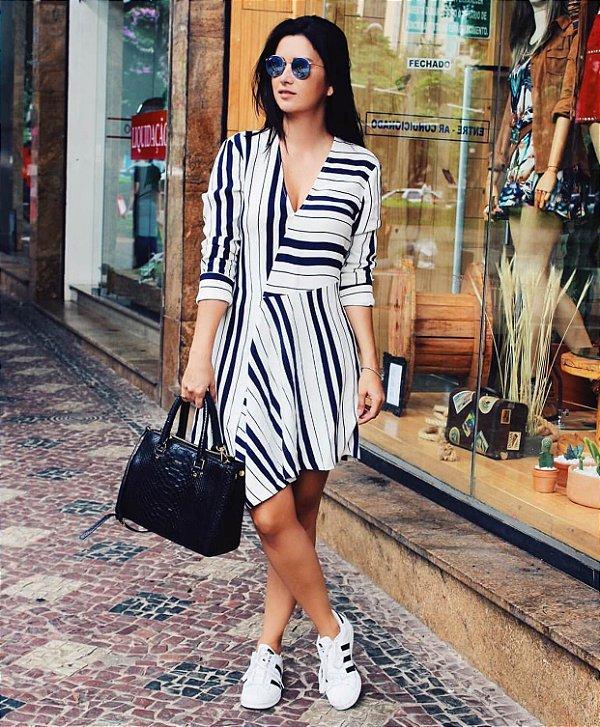 Vestido P&B listras (G) - Zara
