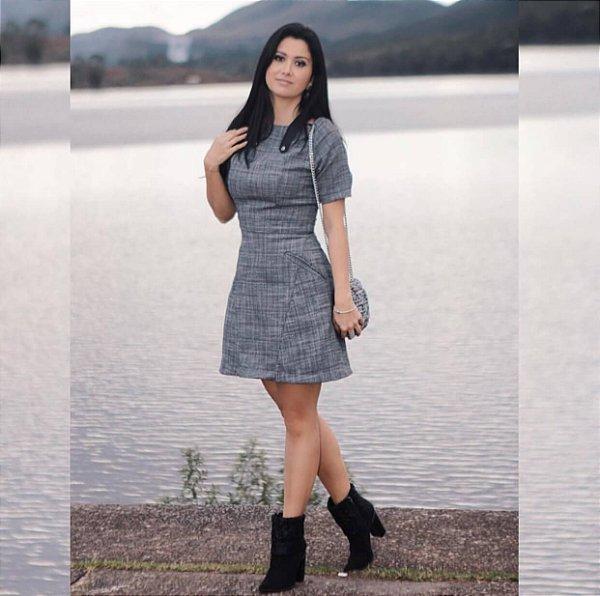 Vestido linho cinza (P) - Amaro