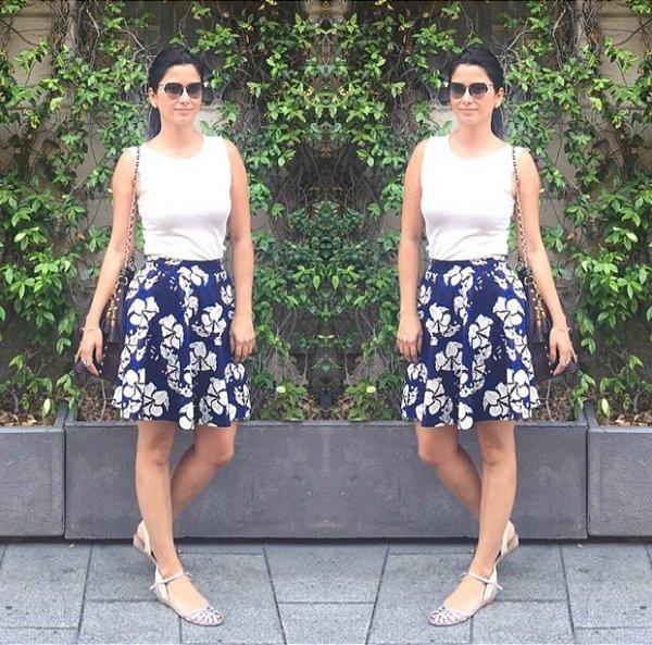 Saia algodão azul estampa floral (G) - Zara