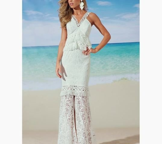 Vestido renda off white (38) - Regina Salomão