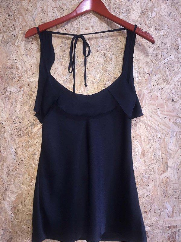 Camiseta preta babados (M) - Luigi Bertolli