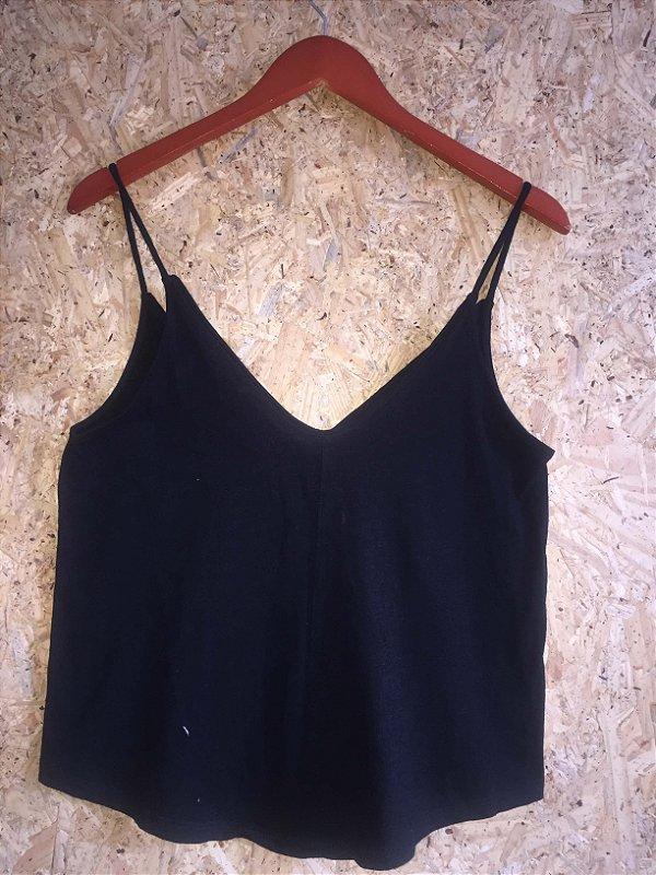 Cropped malha preto (M) - Zara