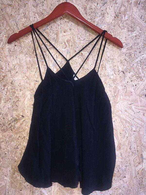 Camiseta soltinha preta (M) - Zara