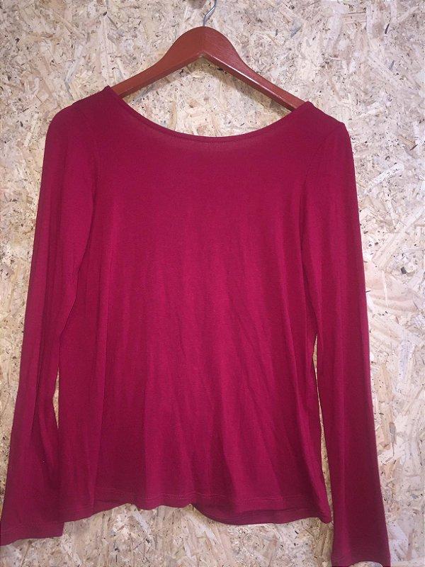 Blusa malha vermelha transpassada (M)