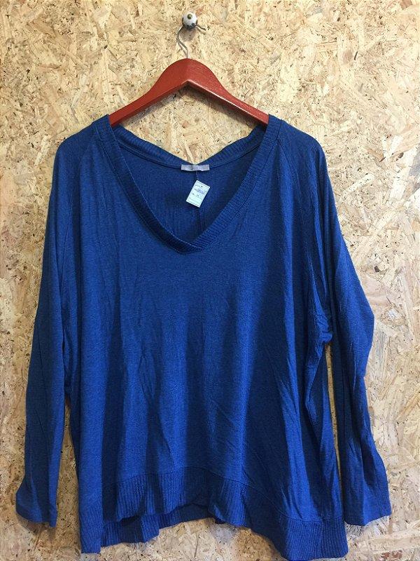 Blusa manga larga azul (M) - Zara