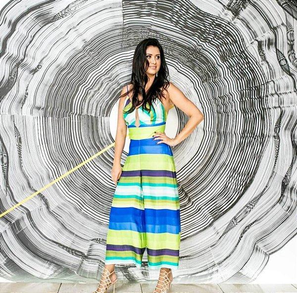 Macacão pantacourt listras coloridas (40) - Regina Salomão
