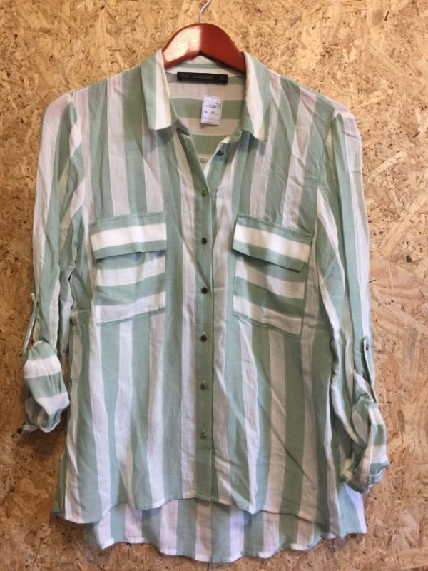 Camisa listras verde (M) - Zara