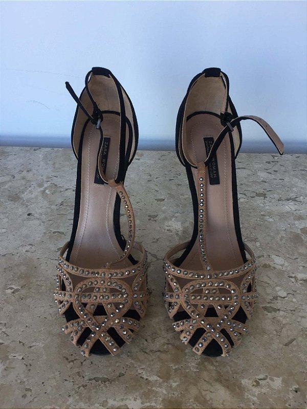Sandália bicolor brilho (37) - Zara