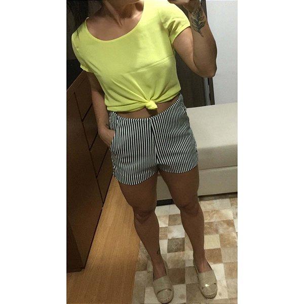 Short cintura alta listras (M)