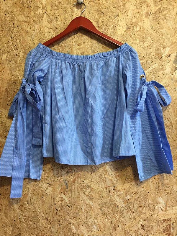 Blusa ombro a ombro listras azul (M)