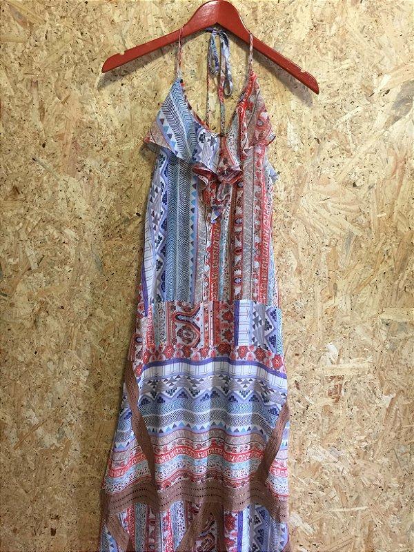 Vestido longo estampas com renda (G) - Anne Fernandes