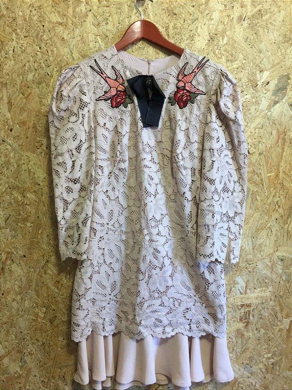 Vestido rosê bordado (G) - Anne Fernandes