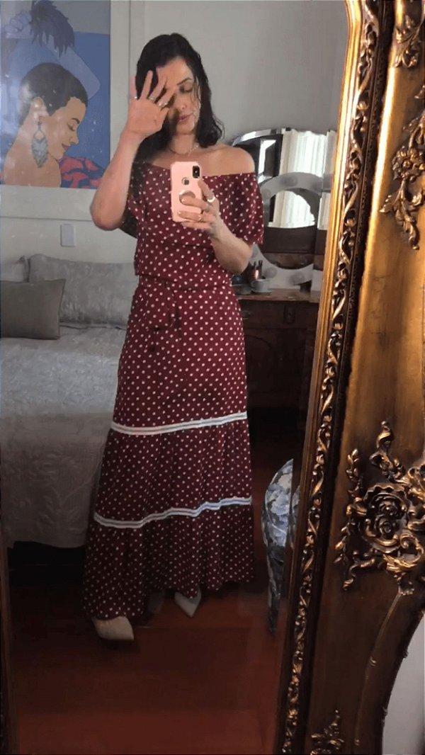 Vestido longo bordô de poá  (M) - Clara Fontenele