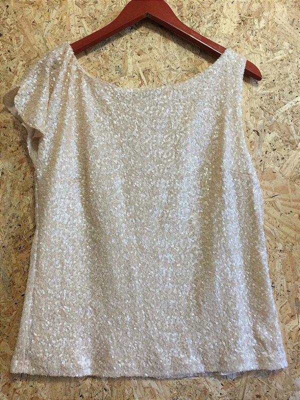 Blusa nude paetê (G) - Zara