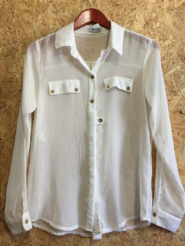 Camisa branca fio metalizado (M) - Arony