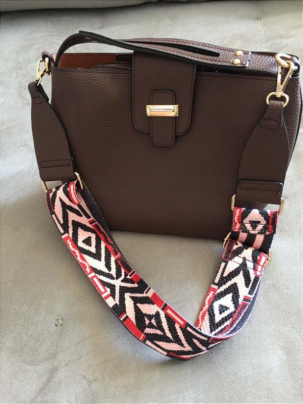 Bag strap couro craquelado marrom e alça étnica (U) NOVA