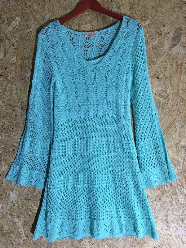 Vestido tricot verde água (M) - Lafê