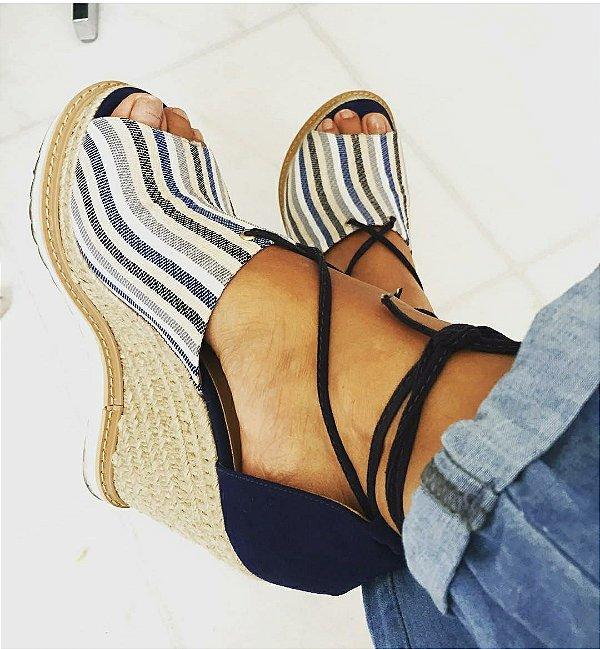 Sandália anabela listras (37) - Brenda Lee