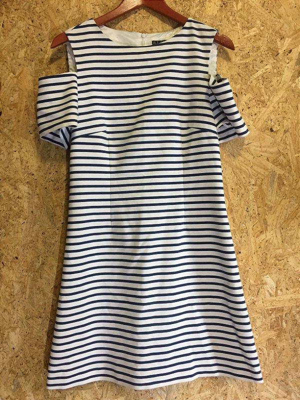 Vestido listras ombro vazado (G) - Zara