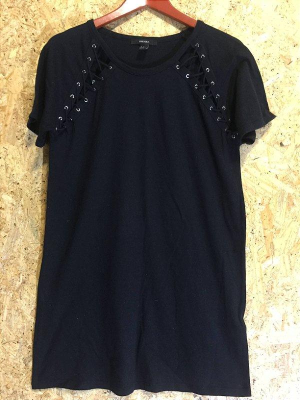 Blusão malha preta ilhós (M) - Zara